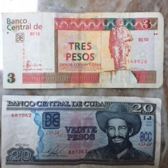 Tourist currency (CUC) and local currency (CUP)