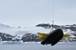The crew started lowering kayaks and zodiacs during breakfast.